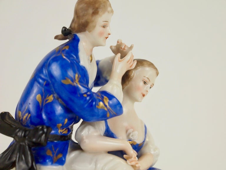 20th Century Dresden Porcelain Romantic Couple Statuette by Ackermann & Fritze For Sale