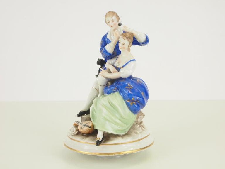 Dresden Porcelain Romantic Couple Statuette by Ackermann & Fritze For Sale 2