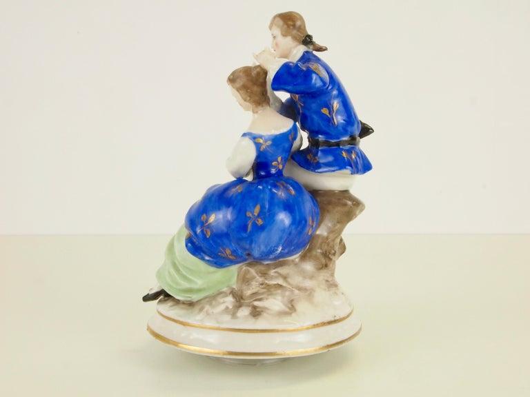 Dresden Porcelain Romantic Couple Statuette by Ackermann & Fritze For Sale 3