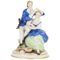 Dresden Porcelain Romantic Couple Statuette by Ackermann & Fritze