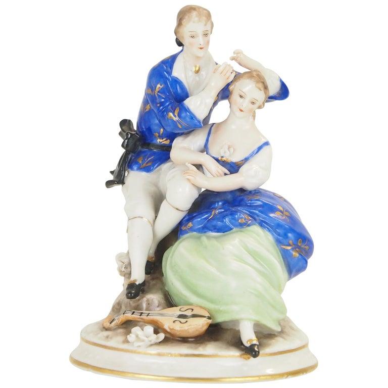 Dresden Porcelain Romantic Couple Statuette by Ackermann & Fritze For Sale