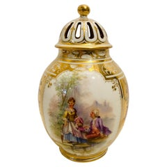 Dresden Potpourri with Two Paintings of Lovers and Two Flower Bouquets