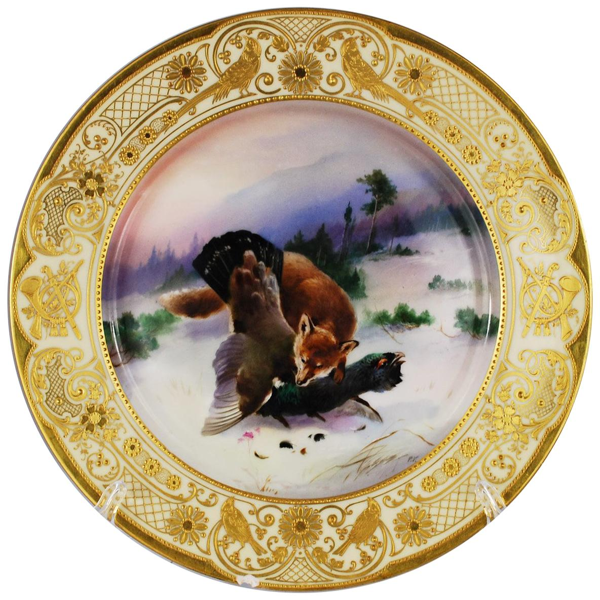 Dresden Saxony Porcelain Game Cabinet Plate Hand Painted Fox Animal Gilt Gold