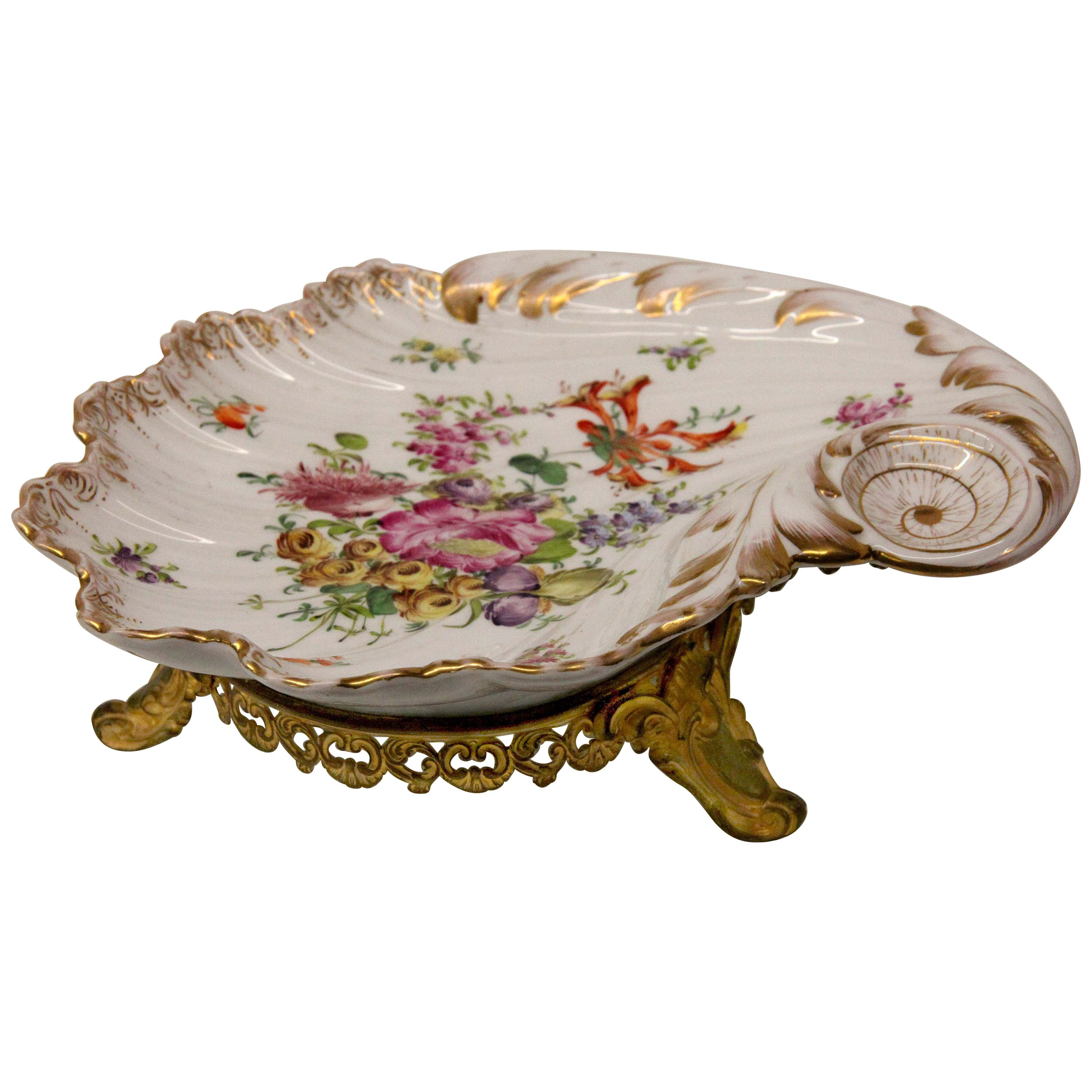 Dresden Serving Dish with Gilt Base