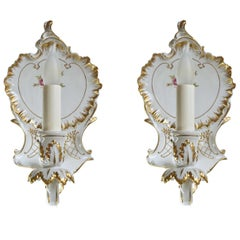 Dresden Style Porcelain Sconce, Pair
