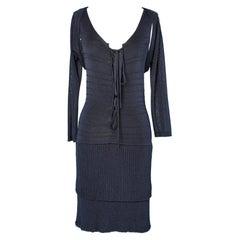 Dress and Boléro in navy blue viscose knit Luisa Spagnoli