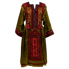 Dress Bronze Satin Blouse Embroidered With Ethnic Patterns - India Circa 1970