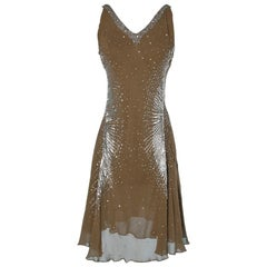 Dress Just Cavalli in chiffon embroidered with pearls and sequins