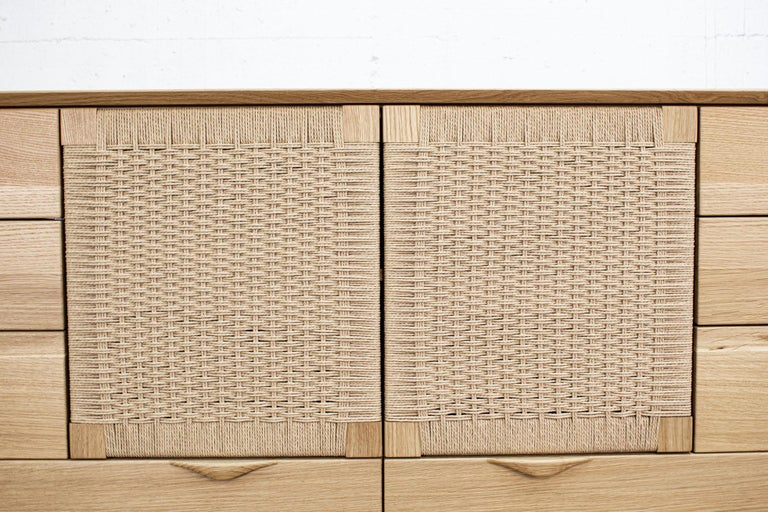 Contemporary Dresser, Hardwood, Lowboy, Danish Cord, Woven Doors, Drawers, Midcentury Style For Sale