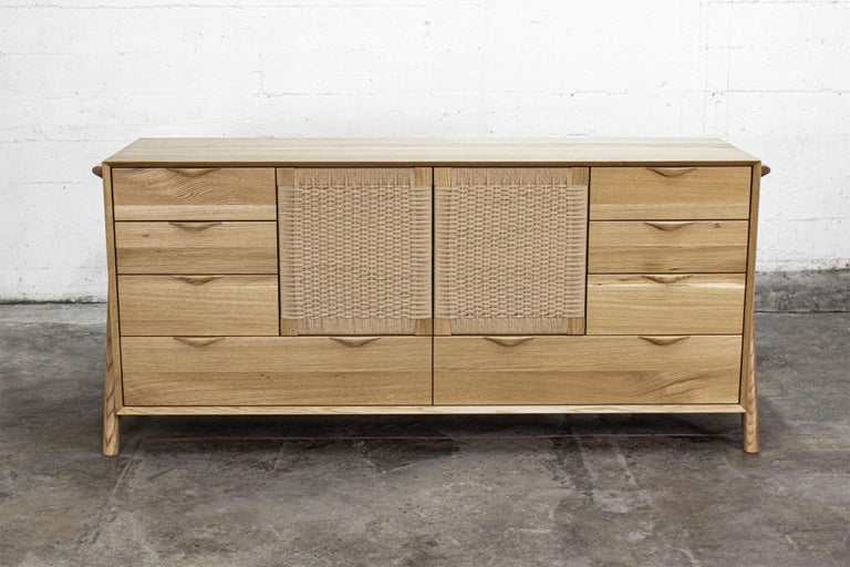 Dresser, Hardwood, Lowboy, Danish Cord, Woven Doors, Drawers, Midcentury Style For Sale 1