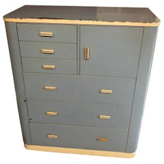 Dresser Highboy by Norman Bel Geddes for Simmons circa 1930s baby blue and white