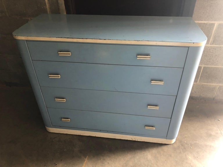 Art Deco Dresser Lowboy by Norman Bel Geddes for Simmons circa 1930s, Baby Blue and White For Sale