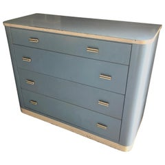 Dresser Lowboy by Norman Bel Geddes for Simmons circa 1930s, Baby Blue and White