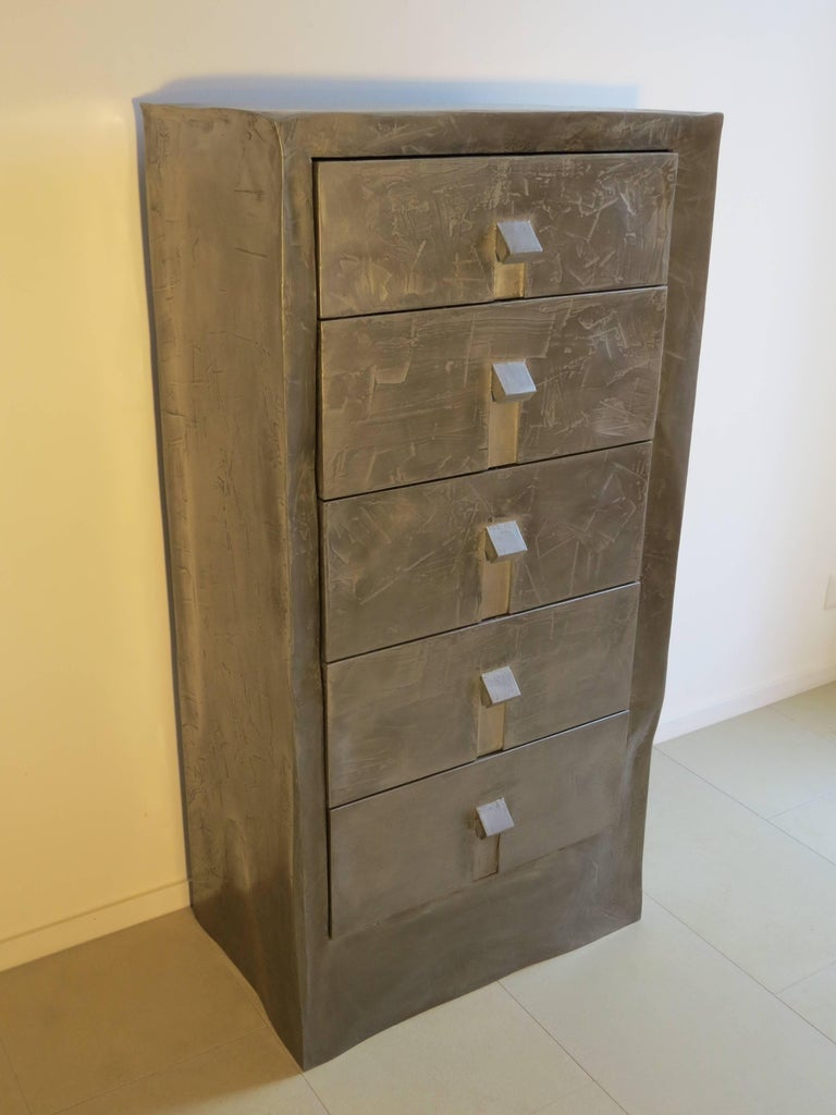 Handmade chest of drawers with five drawers.