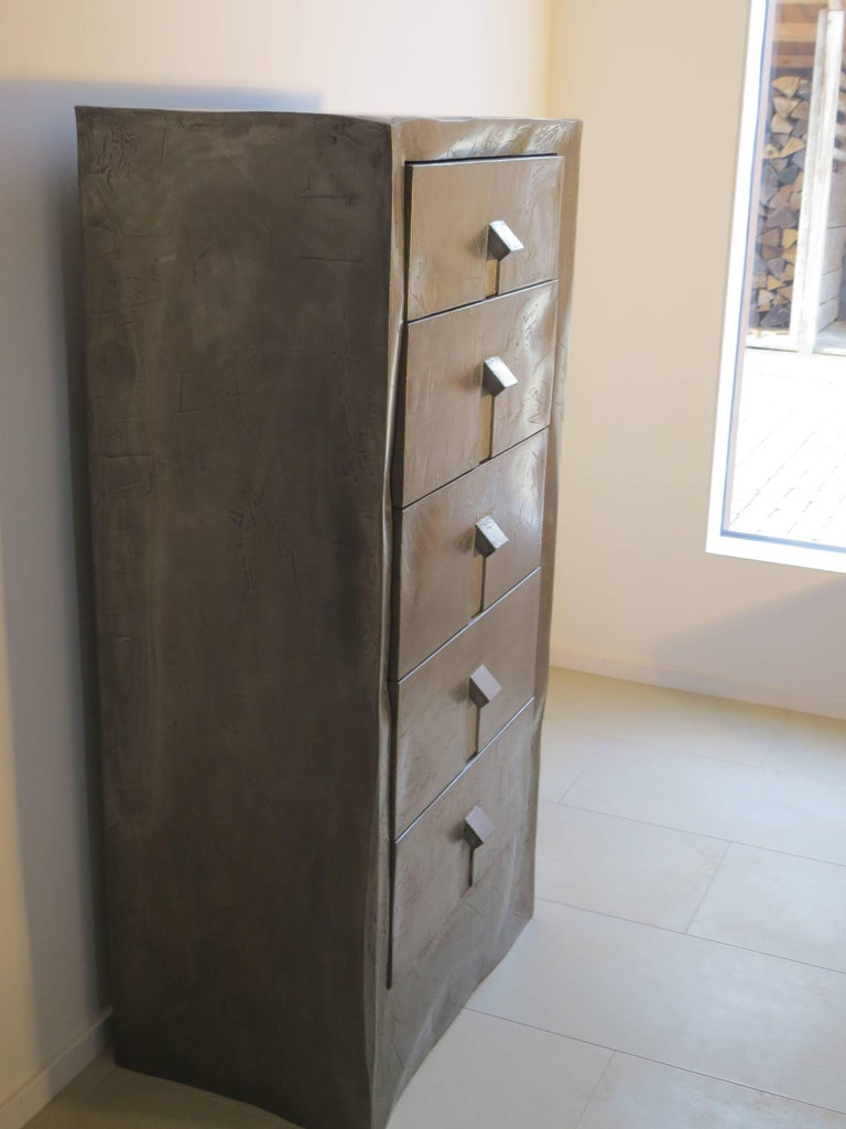 German Dresser Made of Aluminium Handmade, One of Kind For Sale