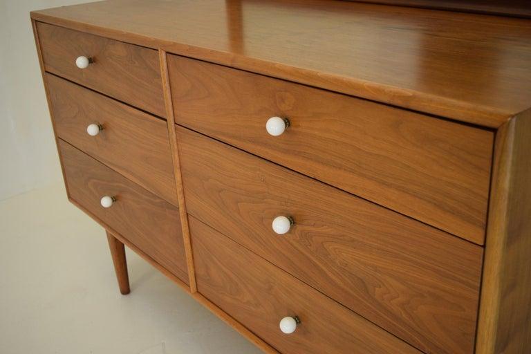 Mid-Century Modern Dresser Suite and Mirror by Kipp Stewart for Drexel in Walnut For Sale