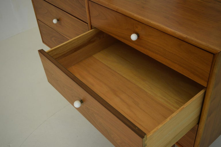 Porcelain Dresser Suite and Mirror by Kipp Stewart for Drexel in Walnut For Sale