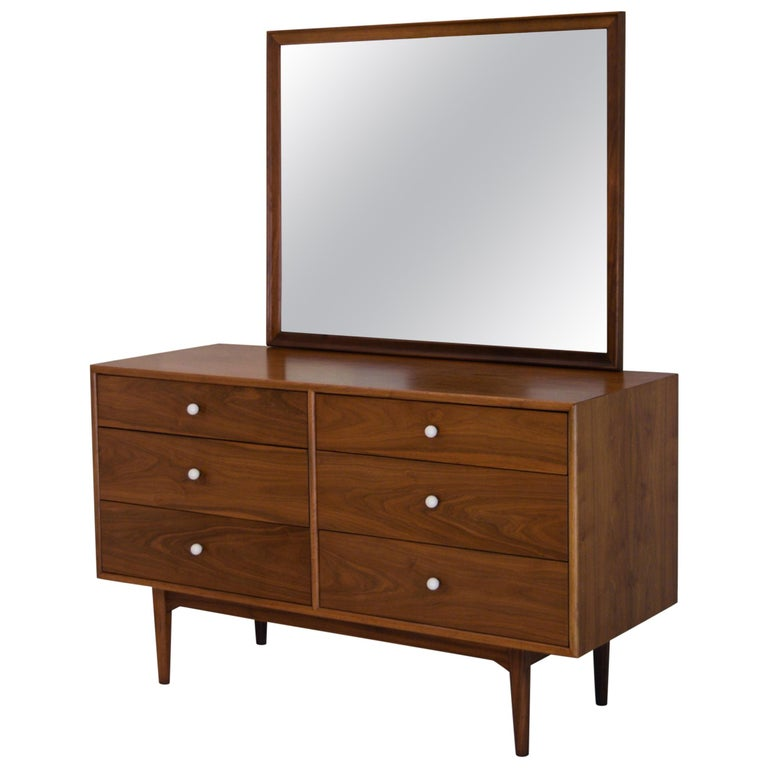 Dresser Suite and Mirror by Kipp Stewart for Drexel in Walnut For Sale