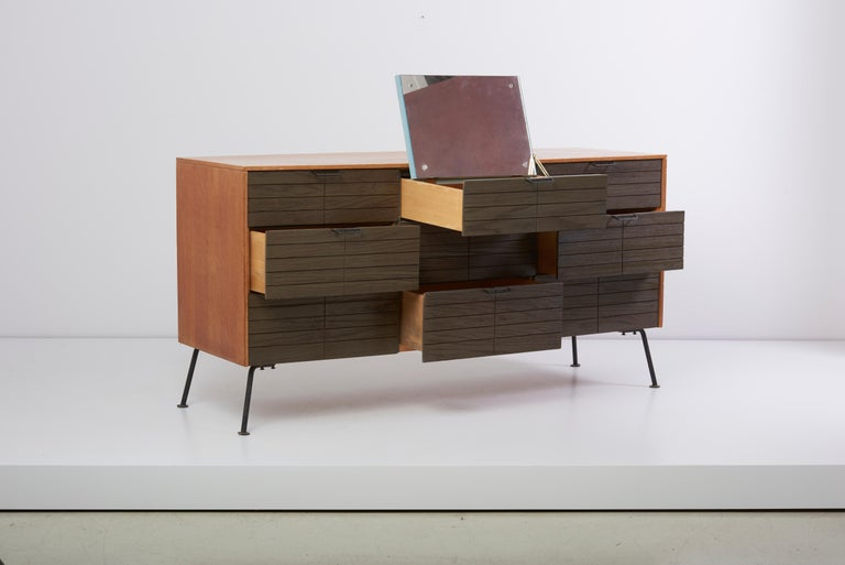 Wood Dresser with Stool by Raymond Loewy for Mengel Furniture Company, Us, 1950s For Sale