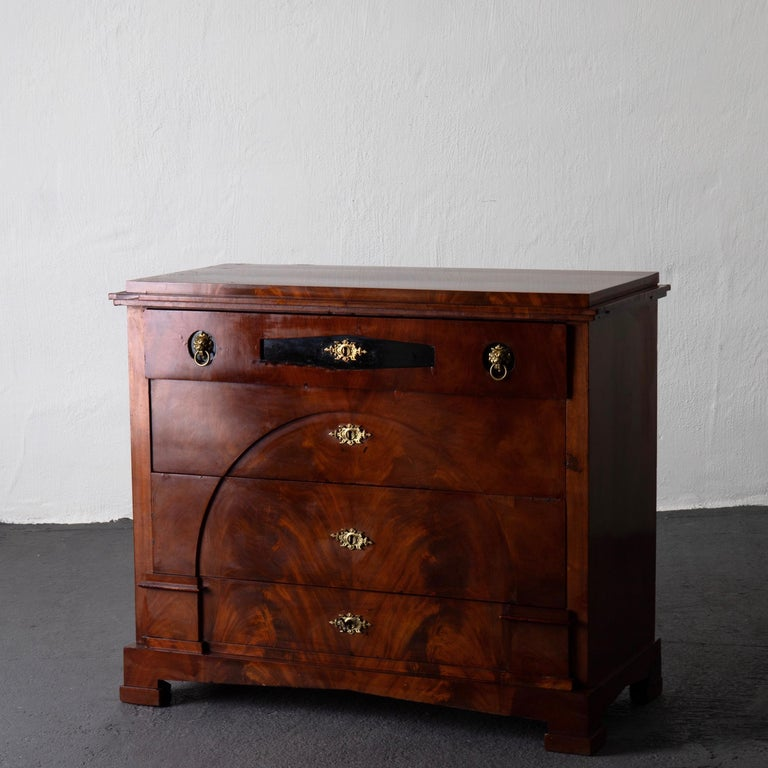 Dresser / Writing Chest Swedish Empire Mahogany Black Brass, Sweden In Good Condition For Sale In New York, NY