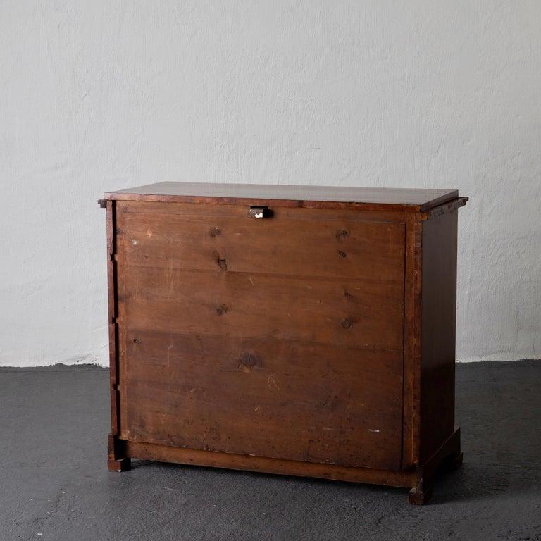 Dresser / Writing Chest Swedish Empire Mahogany Black Brass, Sweden For Sale 5