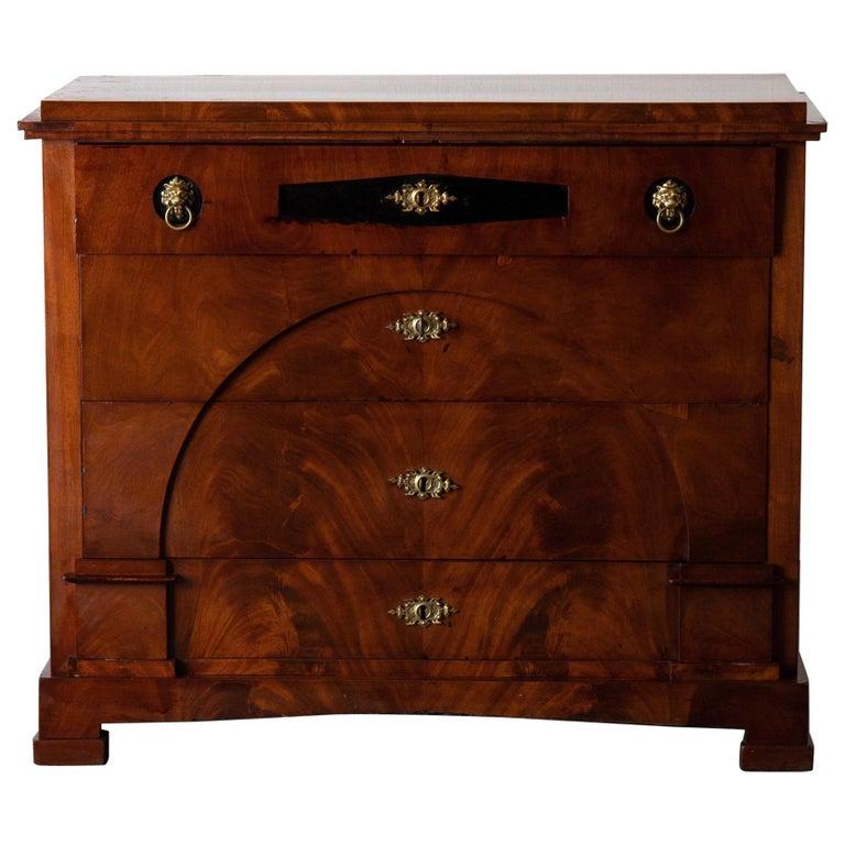 Dresser / Writing Chest Swedish Empire Mahogany Black Brass, Sweden For Sale