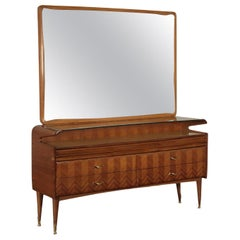 Dresser, Mahogany Veneer Back-Treated Glass and Brass, 1950s