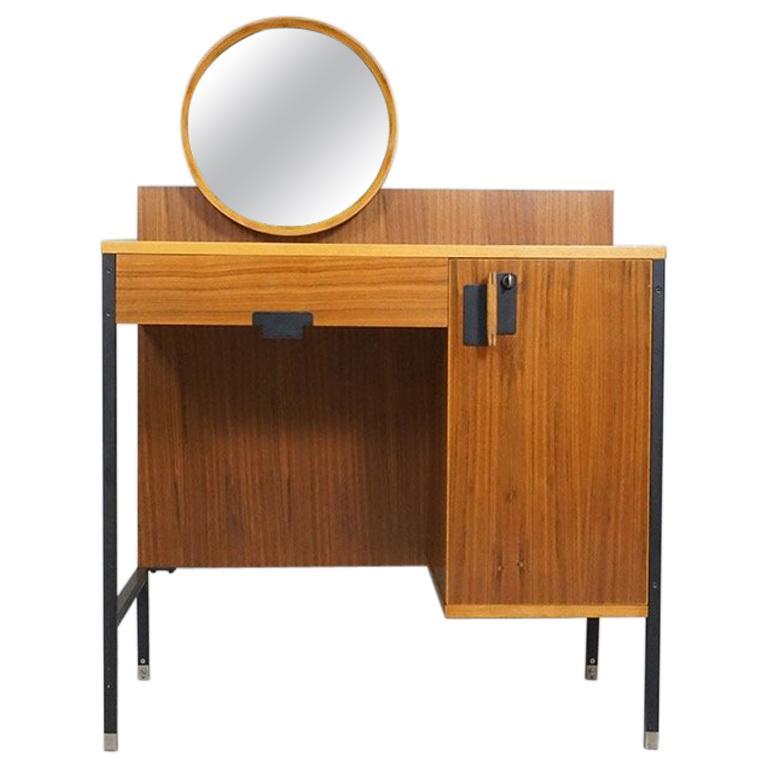 Dressing table model 'Positano 1306' veneered wood, black lacquered metal construction, adjustable mirror Dimension / D. 85.5 cm, T 45 cm, H 117 cm ø mirror 38 cm Design / Ico & Luisa Parisi, 1958 Archive no. 1958.M21 cf. Roberta Lietti, Ico