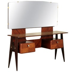 Dressing Table, Ebonized Beech Back-Treated Glass, Italy, 1950s-1960s