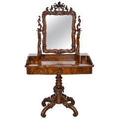 Dressing Table in Mahogany with Ornately-Carved Mirror and Pedestal, Sweden