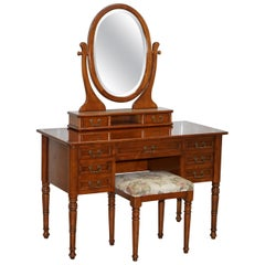 Dressing Table Mirror and Stool Made in Italy by Consorzio Mobili Mahogany Frame