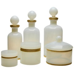 Dressing Table Set of 6 Opaline Glass with a Gold-Colored Metal Beading 1960s