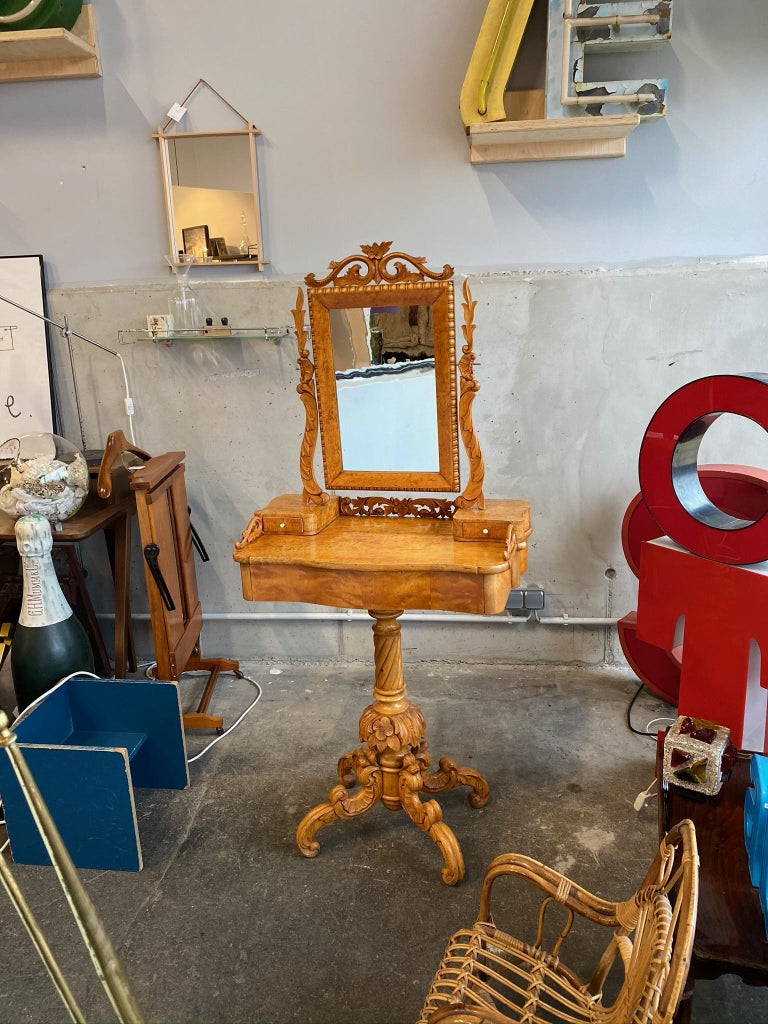Typical decorative dressing table from the epoch of historicism circa 1880 from Sweden, Europe. The mirror measures 41cm x 26cm and the table height is 84cm. The dresser is in a good condition.