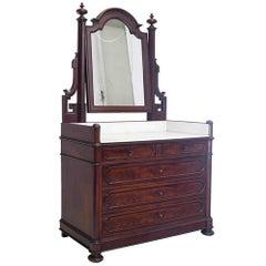Dressing Table with a Mirror circa 1850 Mahogany Original