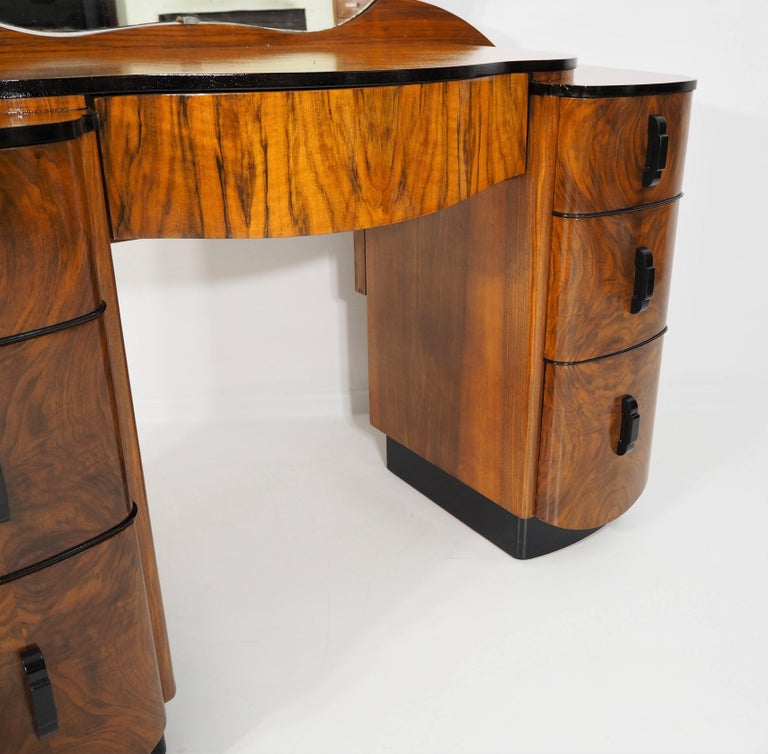Walnut Dressing Table with Mirror by Jindřich Halabala, 1950s