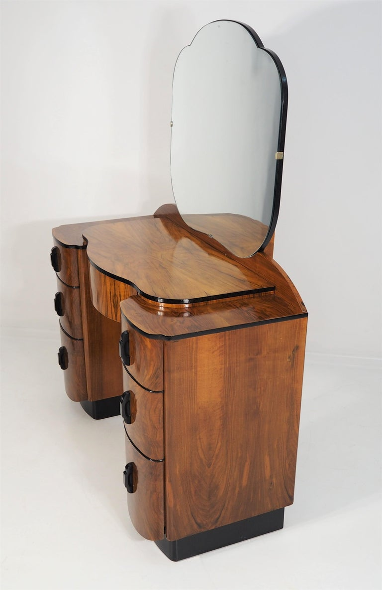 Dressing Table with Mirror by Jindřich Halabala, 1950s 3