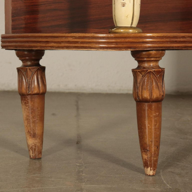 Veneer Dressing Table with Mirror, Italy, 1930s-1940s For Sale