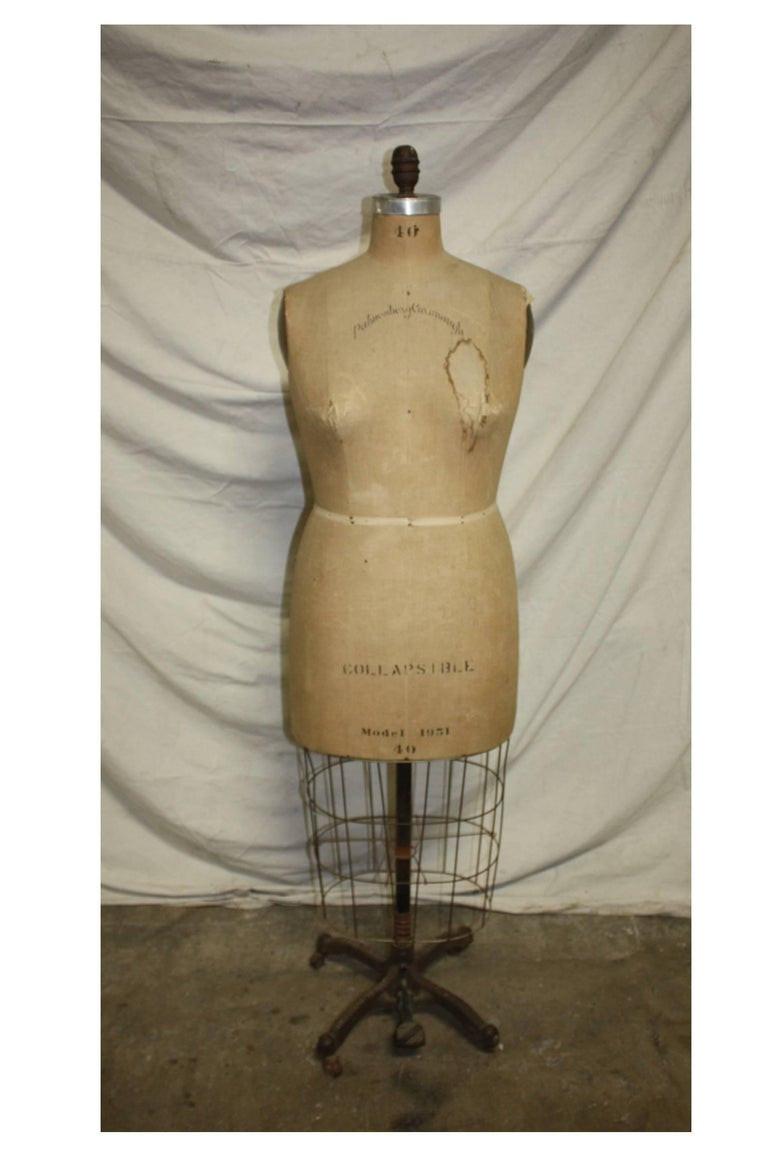 Dressmaker's dummy signed Cavanaugh New York and dated 1951.