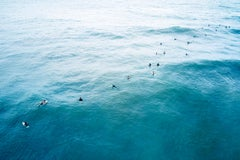 Aerial View of Surfers Waiting for Waves, Color Photography, Horizontal