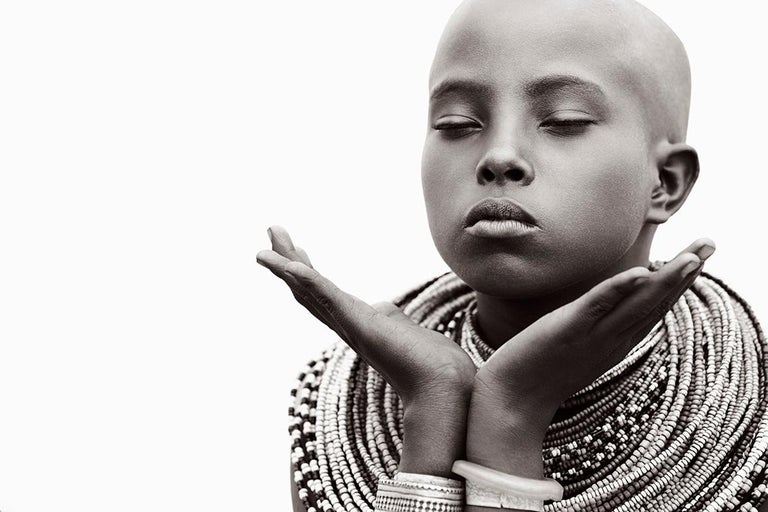 Drew Doggett Black and White Photograph - Fashion, Iconic, Portrait of a Tribal Woman in Kenya, Youthful, Iconic, Jewelry