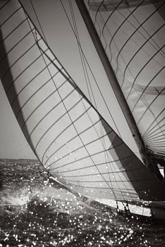 Intimate Black and White Print of the World-Class Yacht Northern Light, Vertical