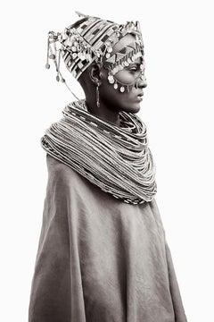 Profile Portrait of a Woman in Kenya Wearing Tribal Jewelry, Iconic, Vertical