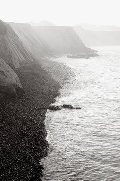 Sunrise on the California Coast, Black and White Photography, Vertical, Classic