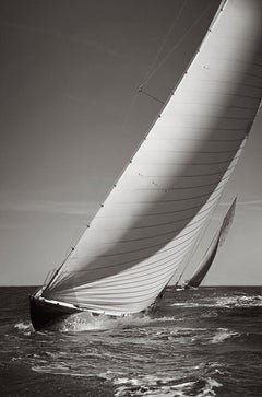 Two World-Class Racing Yachts On the Open Seas, Black and White, Horizontal