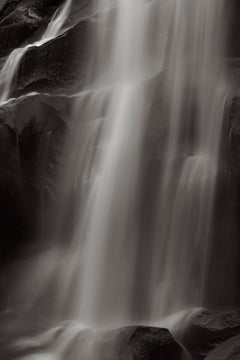 Waterfall in the American West, Iconic, Vertical, Black and White Photography