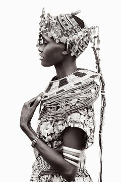 Woman in Kenya Wearing Tribal Jewelry, Black and White Photography, Vertical