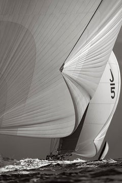 World-Class Yachts in Motion, Black and White, Vertical, Design-Inspired