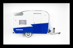 """4 SUMMER"", Miniature, blue and white, camper van, trailer paper sculpture"