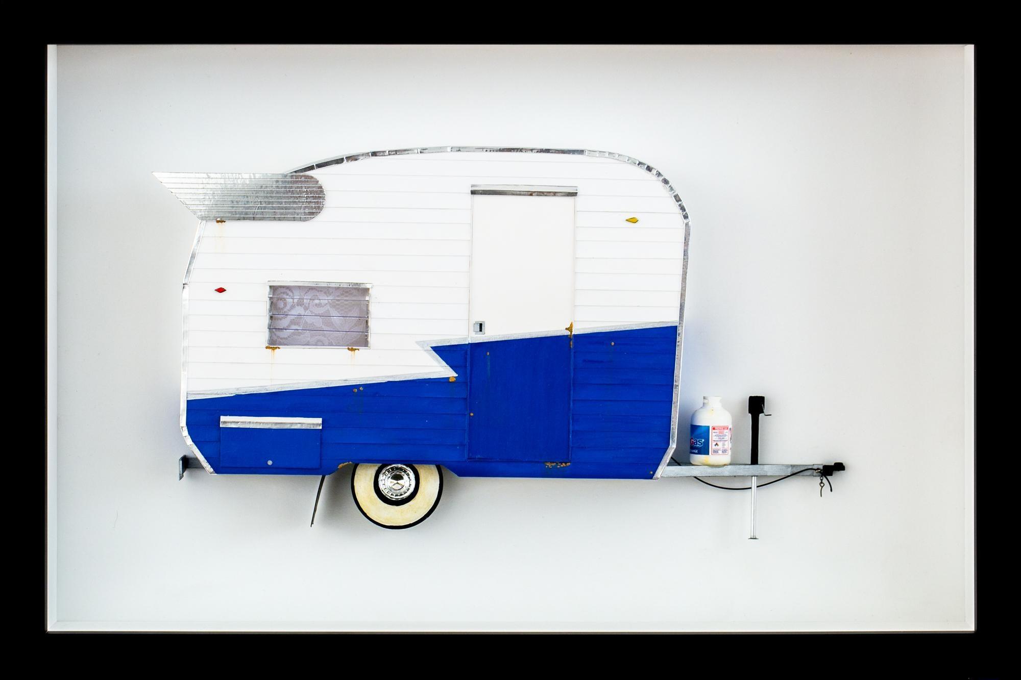 """4 SUMMER"", Miniature, blue and white, camper van, trailer paper sculpture"