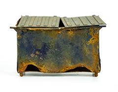 """Blue Dumpster"", Miniature Paper Sculpture, Realism"